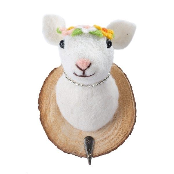 Filzkopf-Haken Schaf mit Blumenkranz