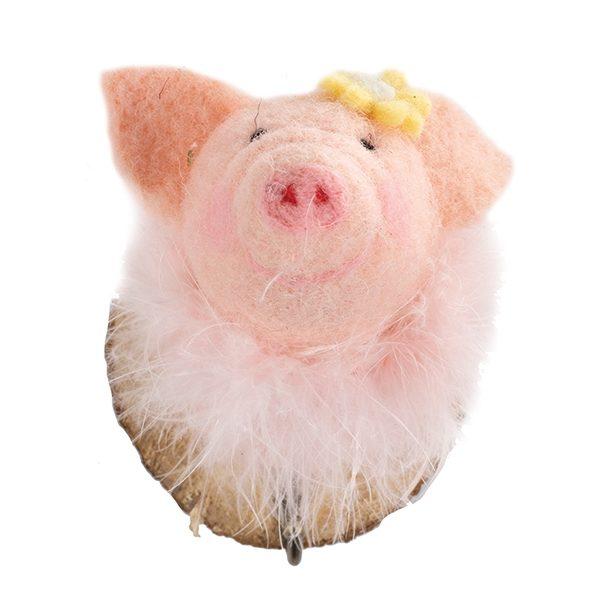 Filzkopf-Haken Schwein mit gelber Krone