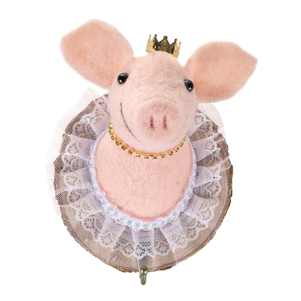 Filzkopf-Haken Schwein mit Krone