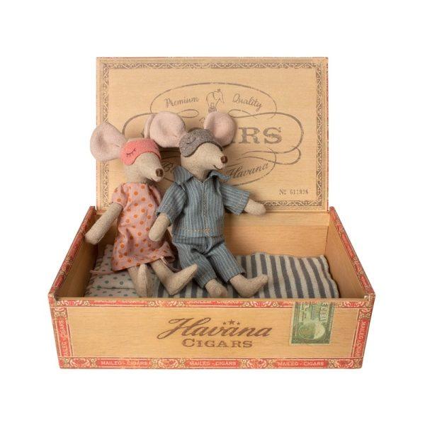 Maus Eltern sitzend in Holzbox